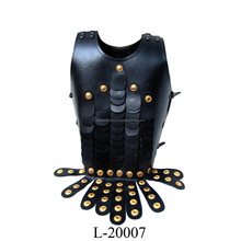 Medieval Black Leather Muscle Armor Cuirass With Brass Fitted India