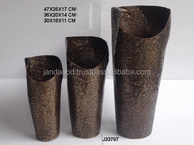 Vertical hammered pattern Vase in two sizes in Antique antique brass finish