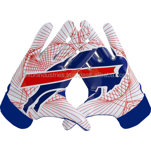 American Football Receivers Gloves Front Palm Dark Blue Silicon Print