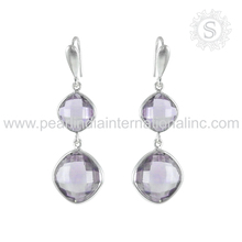 Latest design amethyst gemstone silver earrings 925 sterling silver wholesaler jewelry indian silver earrings exporters
