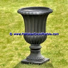 Garden decorative marble planters handcarved decorated flower vase pots indoor outdoor garden Jet Black marble