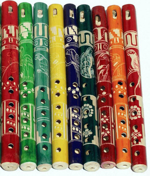 Bamboo Flutes Colored with Ethnic Latin Peruvian Indian Ornament Wooden Flute for Sale
