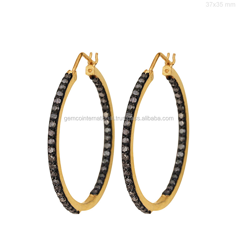 14k Yellow Gold & Silver Diamond Pave Hoop Earrings