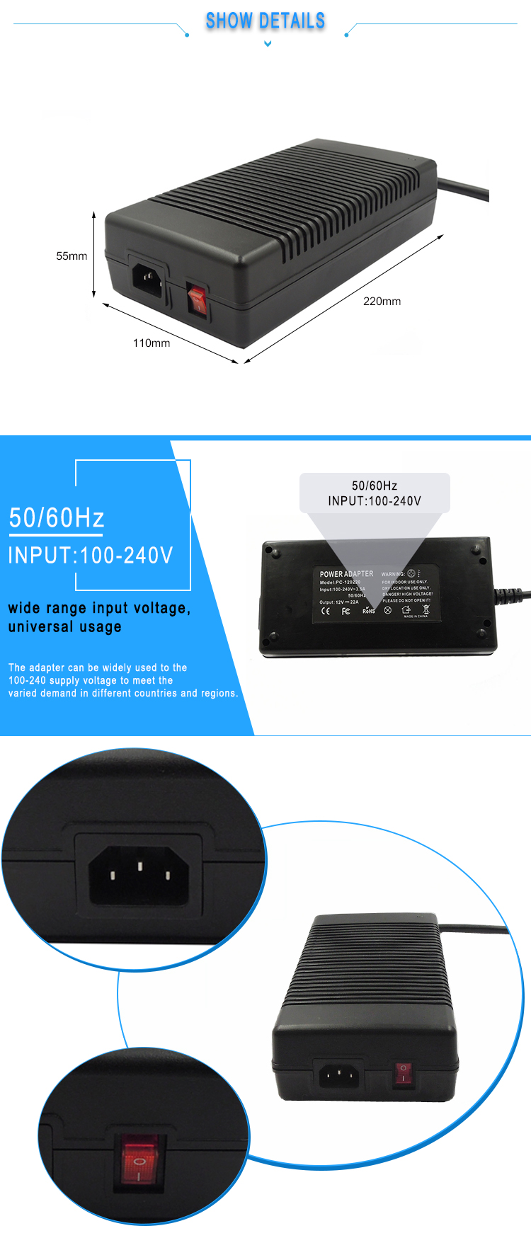 Desktop ac dc 5v 30a switching mode power supply
