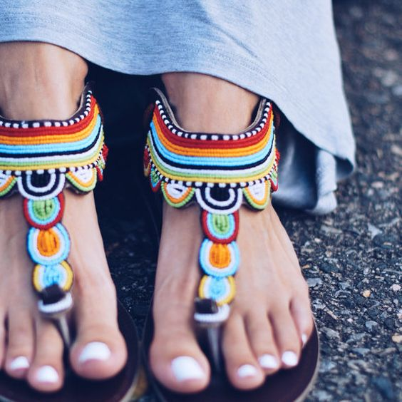 AFRICAN LEATHER BEADED SANDALS