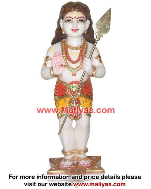 Beautiful Marble Murugan Statue