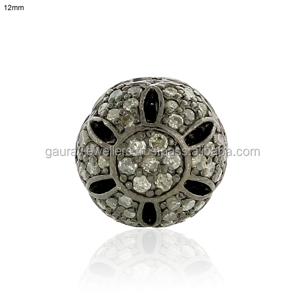 12 mm Bead 1.01 ct Pave Diamond Spacer Finding .925 Sterling Silver Gift Jewelry