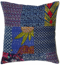 100% Cotton Kantha Work Patch Cushion Cover