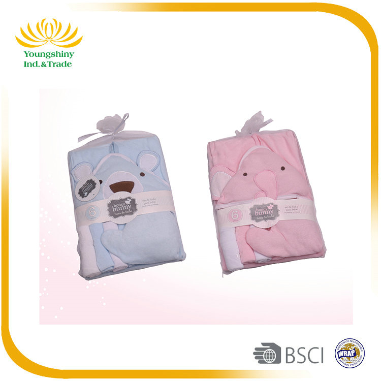7Pcs easy use baby hooded towel set