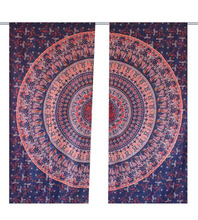 Dancing Peacock & Elephant & Camel Mandala Traditional Hippie Hanging Curtain Window ,Room Divider Curtain