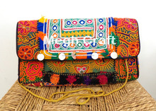 Afghan Mirror Embroidery Hand Clutch-Tribal Hand Clutch- Kuchi Banjara Bag