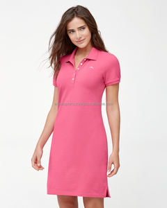 short sleeves sport plain polo knitted dress women