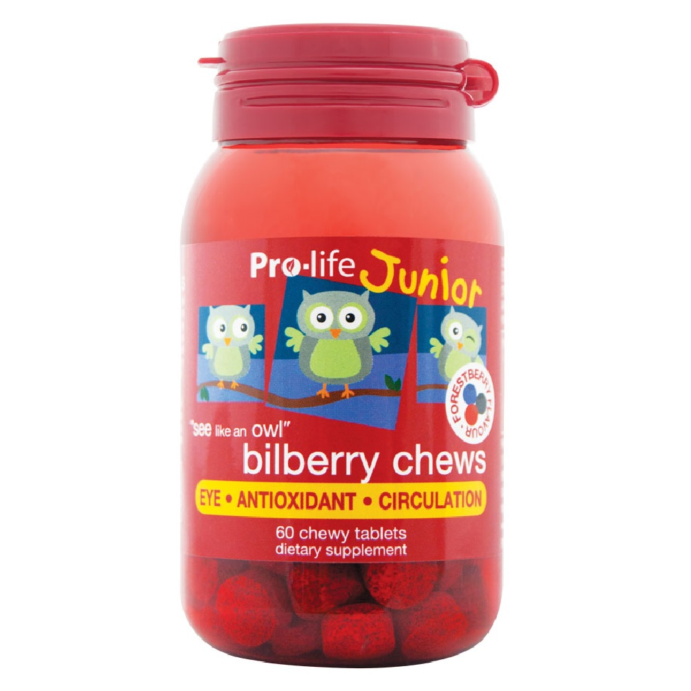 Pro-life Junior Bilberry Chews | Yummy Chewy Tablets, Nutrition for Healthy Eyes