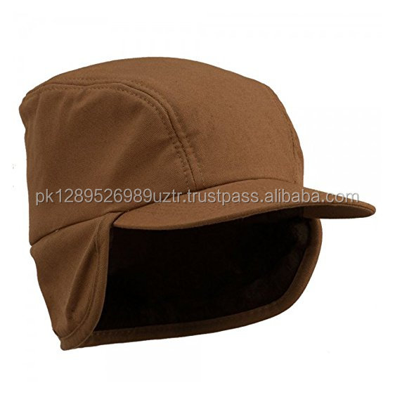 Duck Work Ear flap Cap - Brown\Crown measures 4 inches deep, 3 panels, fully foam lined