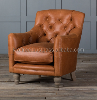 tufted armchair in original leather,Leather chair