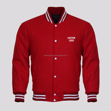 OEM Custom Printed Cotton Fleece Red Varsity Jacket at Factory Price