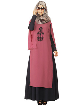 Islamic Abaya Double Layer Midnight Blue and Purple Abaya Dubai Islamic Clothing Muslim Dress