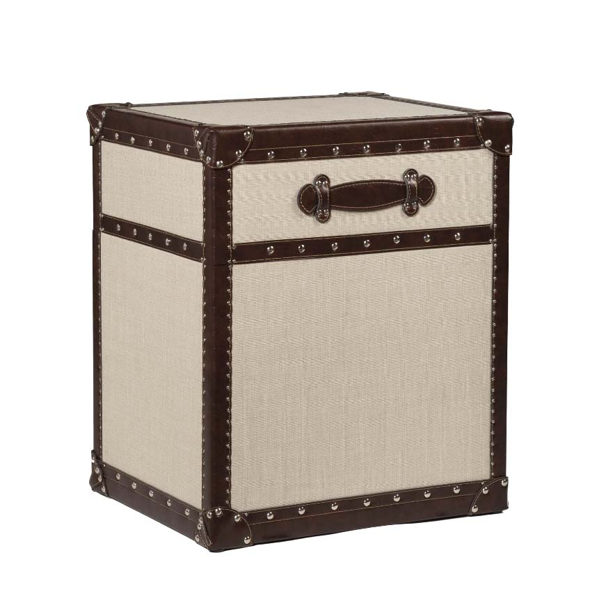 Valencia rectangle storage MDF coffee table set, trunk with leather handle