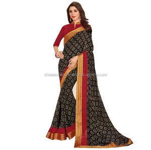 Black Crepe Georgette Trendy Saree / Plain Georgette Sarees With Border / Buy Online Georgette Sarees