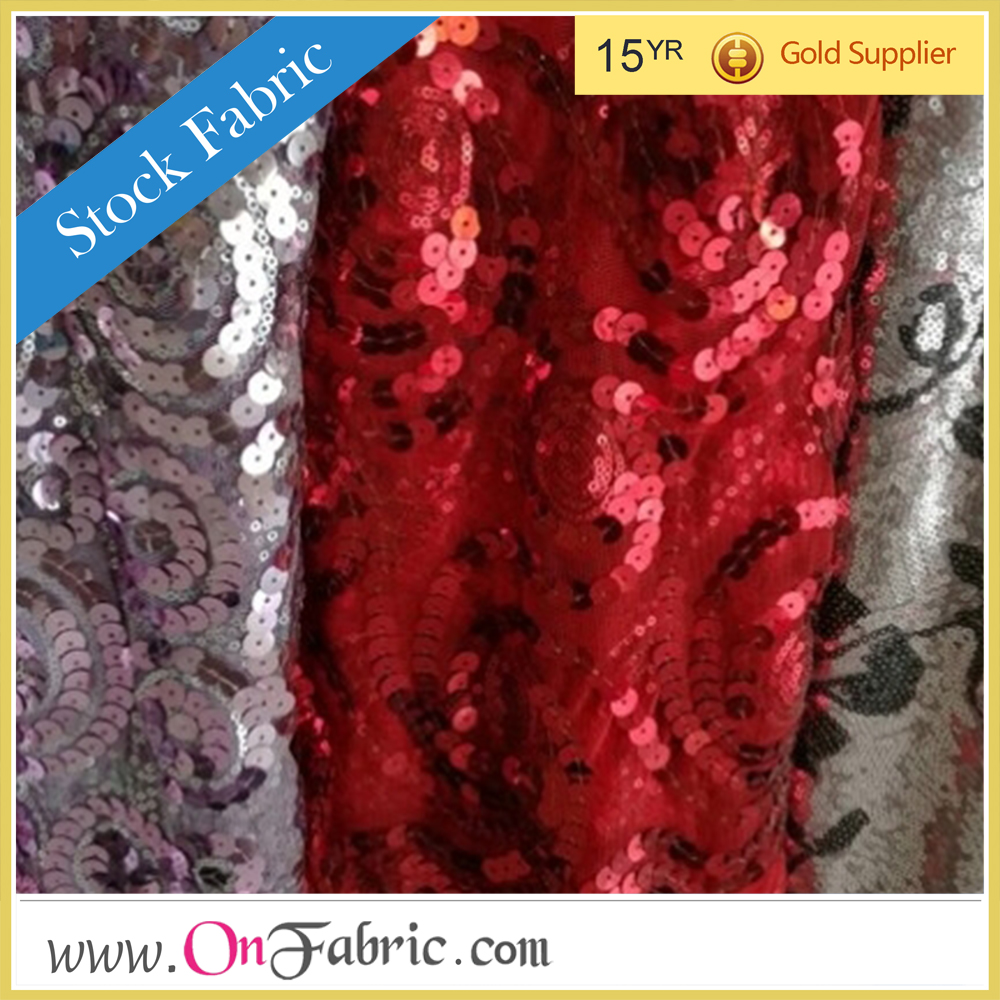 fashion lace shiny fabric embroidery sequin fabric