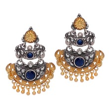 Rajasthani Traditional Two Tone Oxidised Silver & Gold Plated Blue Stone Studded Vintage 2-Layer Dangler Earrings
