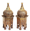 B164 Islamic Antique Reproduction Silver-Inlaid Incense Burner