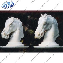 White Marble Semi Polished Outdoor Decor Two Horse Head Statue
