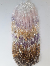 Wholsale Natural multi colored semi-precious Quartz & amethyst Mix Combination Tumbles mani strands