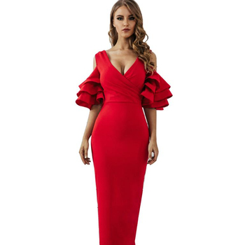Chic Ladies Red Deep V-Neck Bandage Dress Back Slit Women Dress