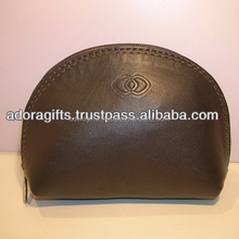 plain black color cosmetic bag / western leather cosmetic bag / leather cosmetic bag manufacturer