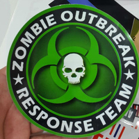 Funny Custom Zombie Outbreak Green color Round vinyl sticker 5 Inch Round Outdoor Waterproof