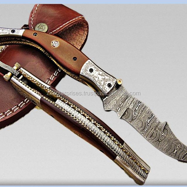 Custom Handmade Damascus Folding Knife Engraved Steel Bolster and Micarta Sheet Handle