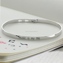 """Music is My Life"" Quotes Enamel Bangle"