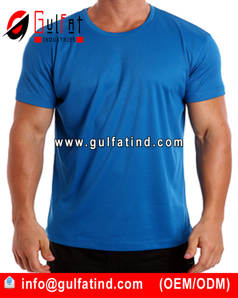 100% polyester OEM Mens blue Soft And Thin Plain O-neck T-shirts