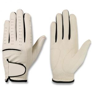 Golf Glove Shirred Elastic Black Piping Cabaret Leather Golf Glove
