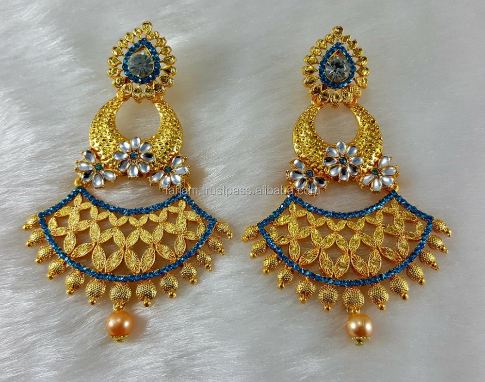 Turquoise Bhindhani Antique Jhumka Gold Plated Party Wear Handmade Ethnic Zerconic Earrings color