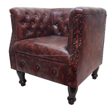 Indian Handmade European Style Antique Genuine Leather Tub Single Sofa Chair