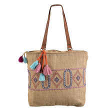 New Design Organic Burlap Zipper Bag,Embroidery Logo Burlap Shopping Bag