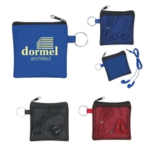"Earbuds In Pouch - earbuds match zippered pouch, 40"" cord, has split ring attachment and comes with your logo"