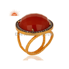 Red Onyx Gemstone CZ Ring Designer Gold Plated Silver Ring Jewelry Manufacturer