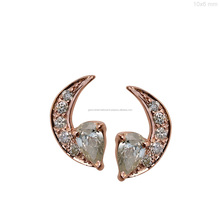 Mini Ear Studs 18 Karat Gold Diamond Crescent Moon Earrings Fine Jewelry