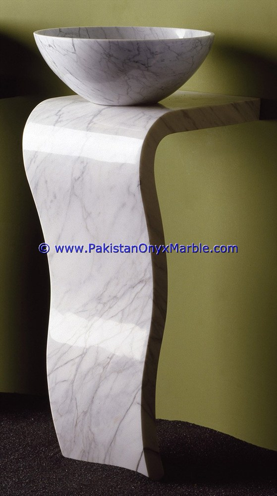 Modern design marble pedestals sinks basins handcarved wash basins free standing ziarat white carrara marble