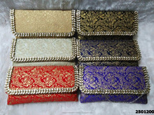 Beautiful And Elegant Brocade Ladies Clutch Bag With Kundan Work