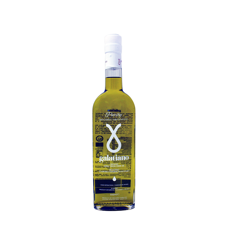 GALATIANO Purity 500ml Ultra-Premium Organic Extra Virgin Olive Oil - Cold Extracted Unfiltered - 100% Natural - Greek Olive Oil