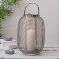 stainless steel Wire Mesh Round Candle Hurricane lantern With White Nickel Finish