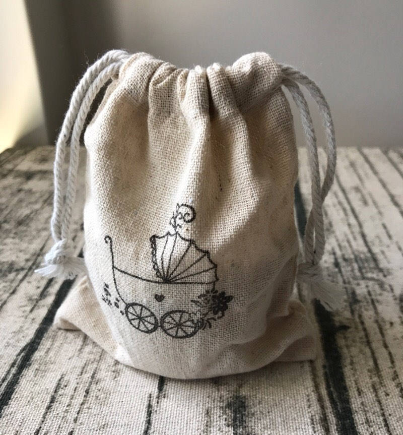 Vintage baby shower carriage linen gift drawstring bag