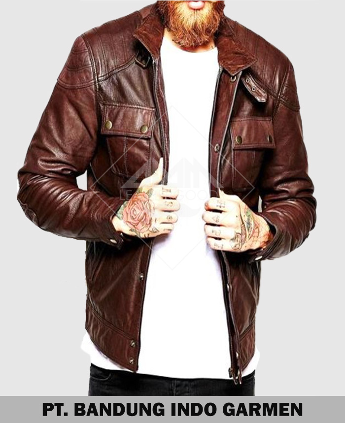 High Quality Cargo Pocket Genuine Men Lambskin Casual Leather Jacket