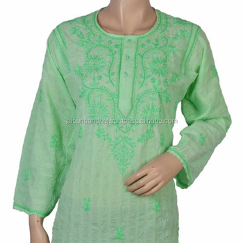 New Hand Work Design Ladies Kurtas Embroidery Cotton Tunic Chikan Embroidery Work Cotton Kurta