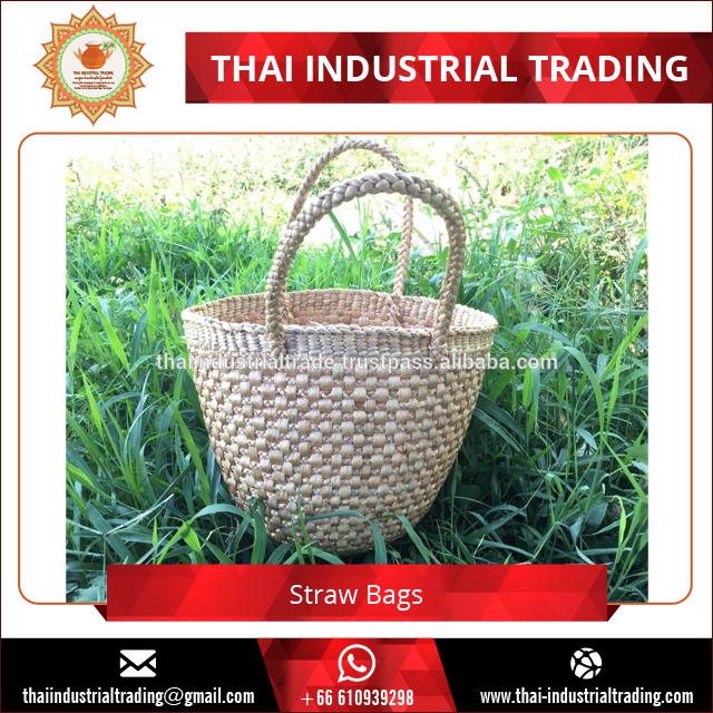 Best Selling Natural Water Hyacinth Woven Custom Straw Bags for Shopping Original product form Thailand