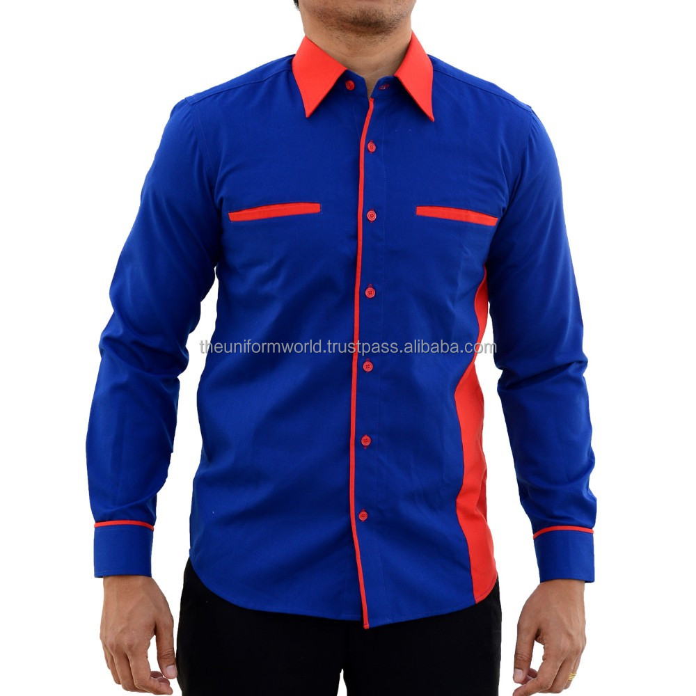 New Design Work Wear Full Long Sleeve Shirt Royal Blue with Red Contrast Poly Cotton Uniforms Manufacturer in Dubai UAE